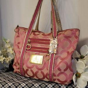 Coach Poppy OP Art Shoulder Tote Bag Pink 13826